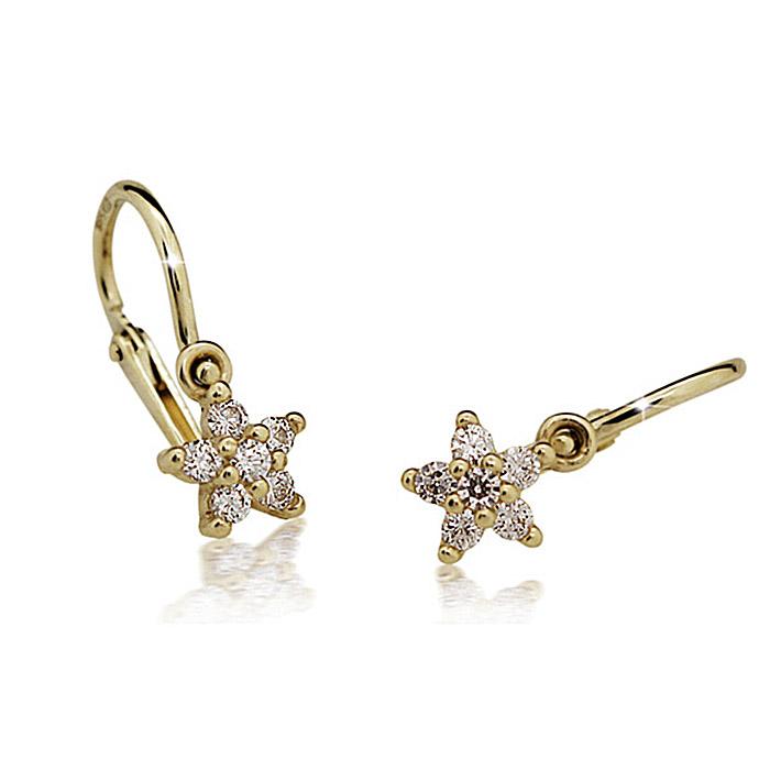 Zlaté detské náušnice s diamantom CUTIE (C2118) 1