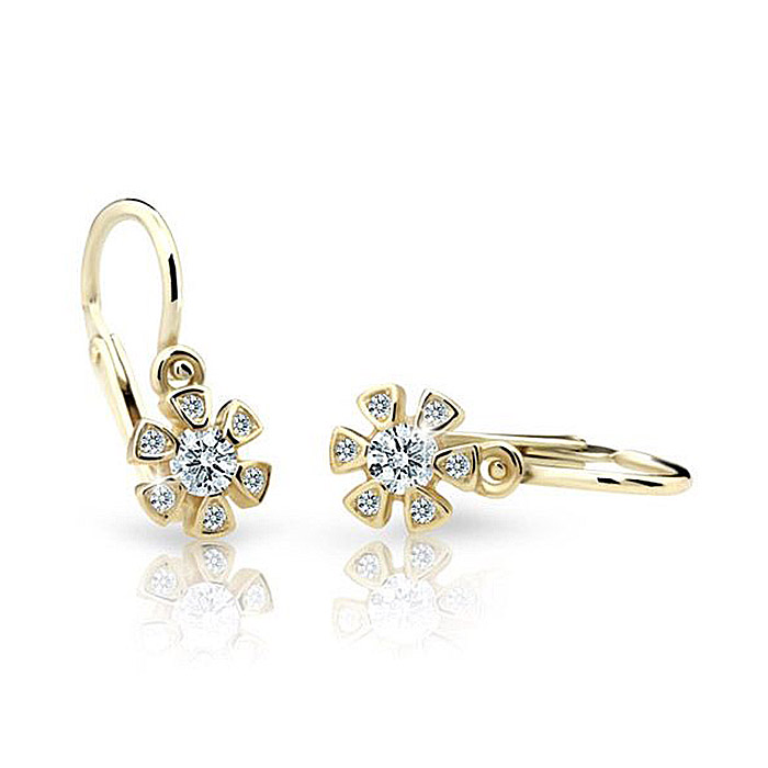Zlaté detské náušnice s diamantom CUTIE (C2156)