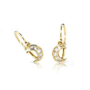 Zlaté detské náušnice s diamantom CUTIE (C2162)