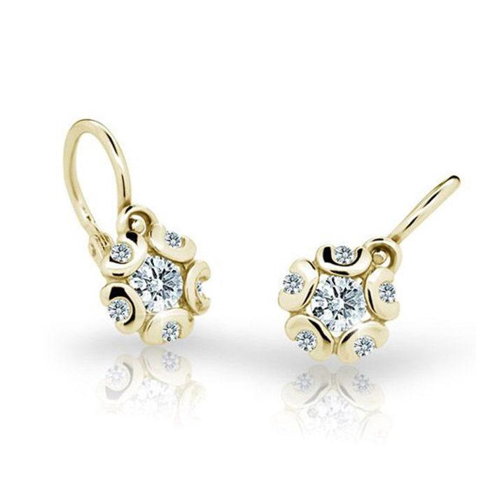 Zlaté detské náušnice s diamantom CUTIE (C2178) 1