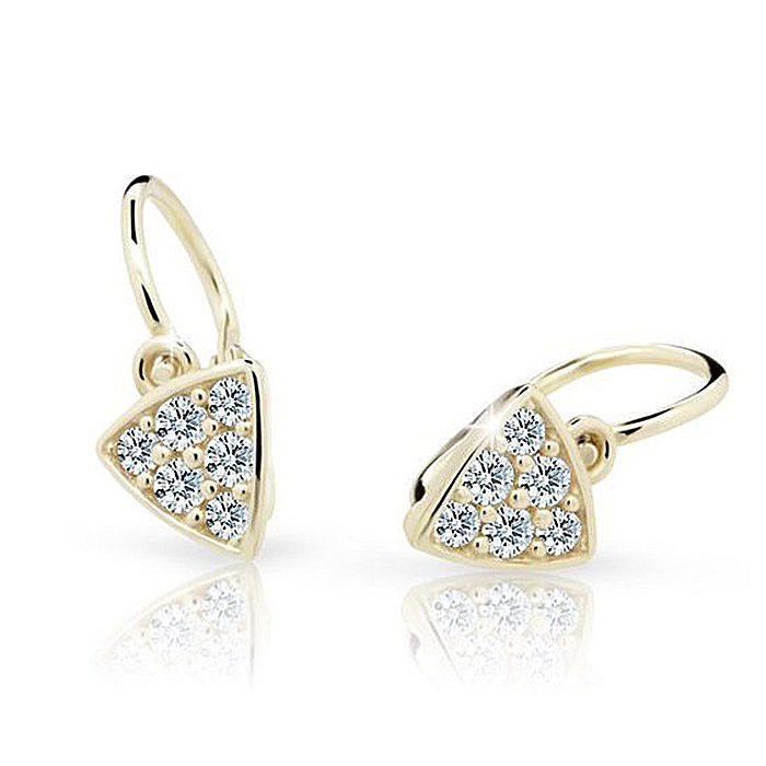 Zlaté detské náušnice s diamantom CUTIE (C2207) 1