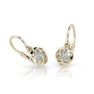 Zlaté detské náušnice s diamantom CUTIE (C2252)