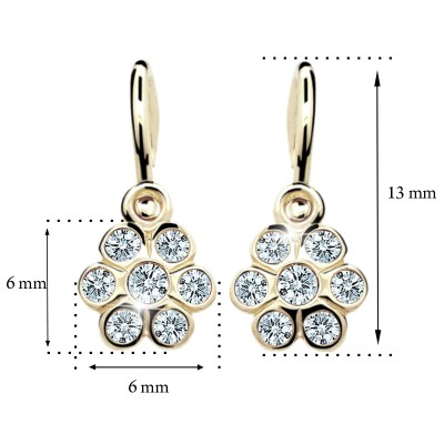 Zlaté detské náušnice s diamantom CUTIE (C1737) 2