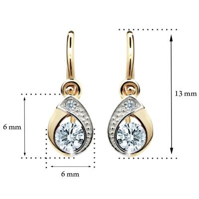 Zlaté detské náušnice s diamantom CUTIE (C1898) 2