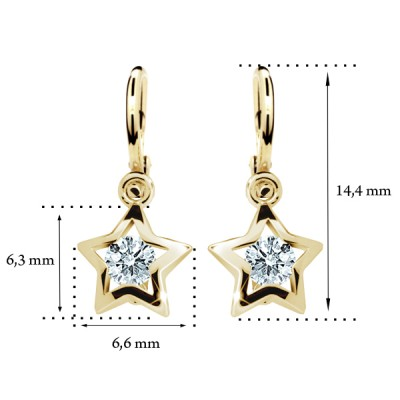 Zlaté detské náušnice s diamantom CUTIE (C1942) 2
