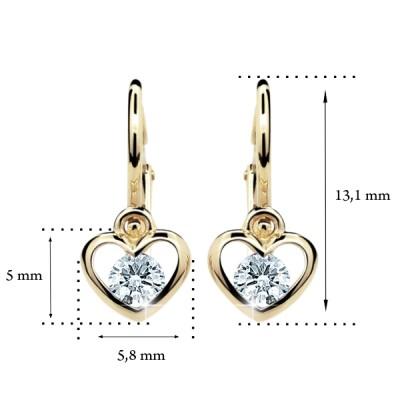 Zlaté detské náušnice s diamantom CUTIE (C1943) 2