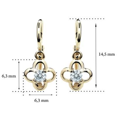 Zlaté detské náušnice s diamantom CUTIE (C1944) 2