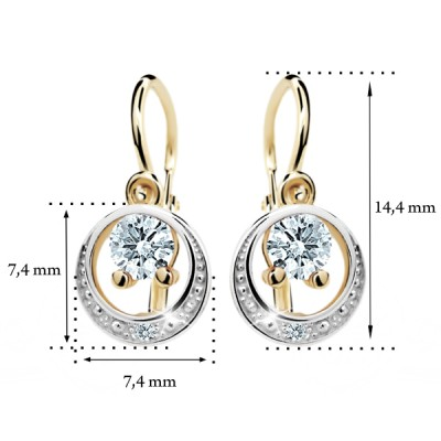 Zlaté detské náušnice s diamantom CUTIE (C1997) 2