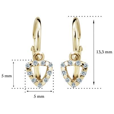 Zlaté detské náušnice s diamantom CUTIE (C2155) 2