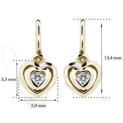 Zlaté detské náušnice s diamantom CUTIE (C2177) 2