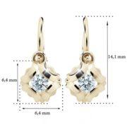 Zlaté detské náušnice s diamantom CUTIE (C2216) 2